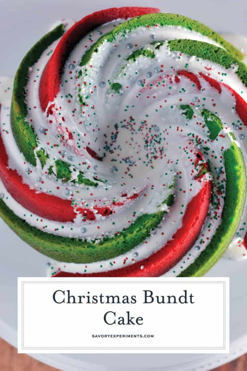 Christmas Bundt Cake is a delicious vanilla pound cake tinted with red and green swirls with a marshmallow fluff icing. Make this show stopping cake today! #bundtcakerecipes #christmascakes www.savoryexperiments.com