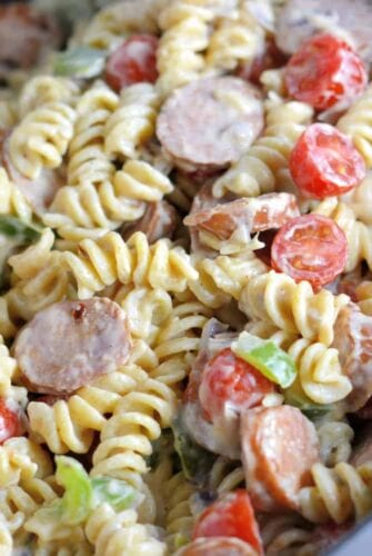 Creamy cajun pasta in a white bowl - quick and easy meals