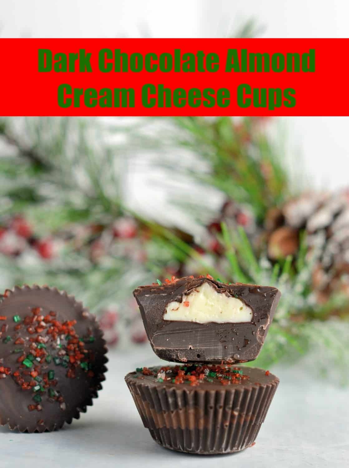 Dark Chocolate Almond Cream Cheese Cups Recipe- No-bake dark chocolate cups stuffed with an almond cream cheese filling. Dark Chocolate Almond Cream Cheese Cups take only 15 minutes to prepare with only 5 ingredients!