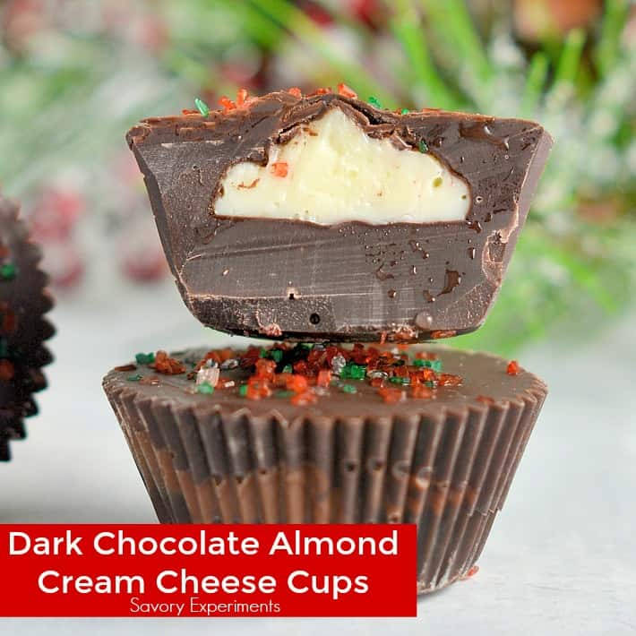 Dark Chocolate Almond Cream Cheese Cups are my secret no-bake dessert weapon. In only 15 minutes and 5 ingredients you will have your new favorite dessert.
