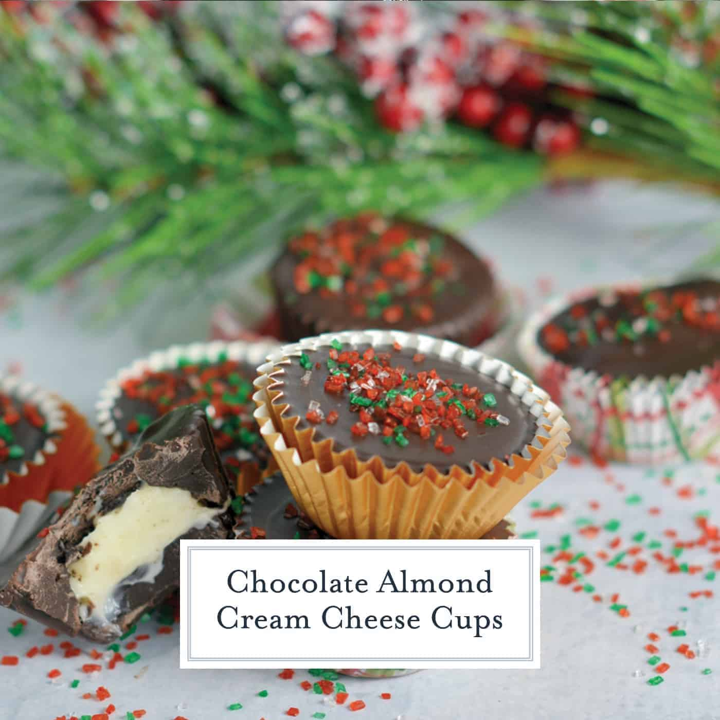 Dark Chocolate Almond Cream Cheese Cups are my secret no-bake dessert weapon. In only 15 minutes and 5 ingredients you will have your new favorite dessert. #nobakedesserts #cheesecakecups www.savoryexperiments.com