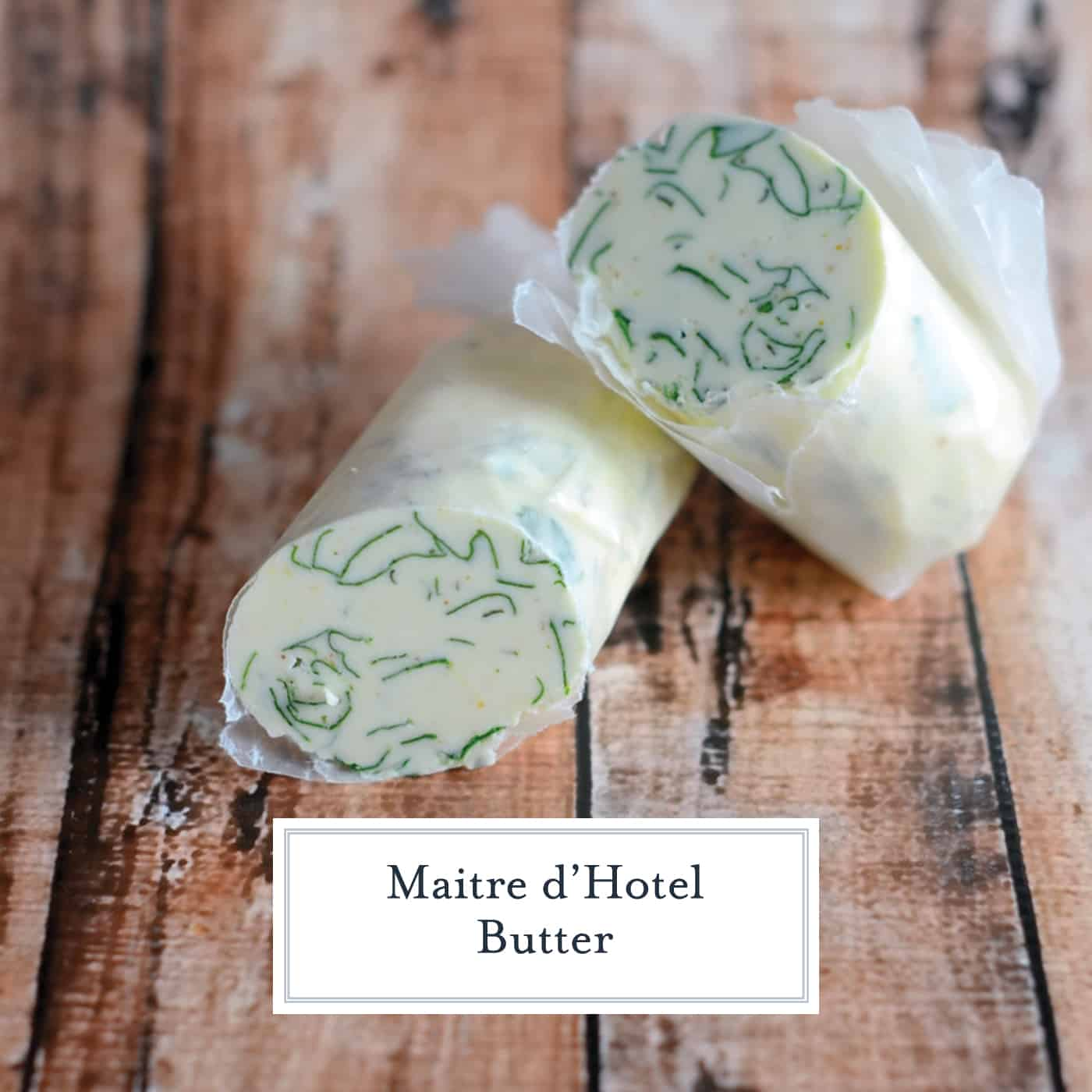 Maitre d'Hotel Butter is a simple compound butter recipe that elevates food with basic flavors: lemon, parsley and mustard. Use it as a finishing butter on meats and vegetables for added pizzazz. #compoundbutter #flavoredbutter www.savoryexperiments.com