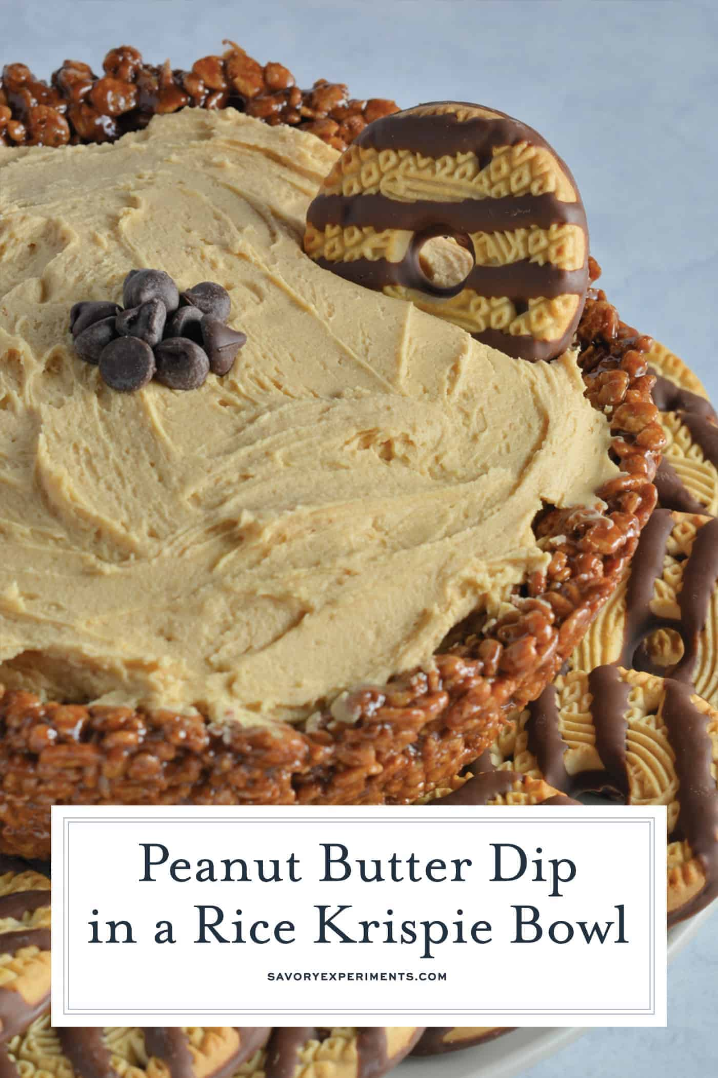 Creamy whipped peanut butter in an edible chocolate laced Rice Krispie treat bowl. The best no-bake peanut butter dessert! #peanutbutterdessert www.savoryexperiments.com