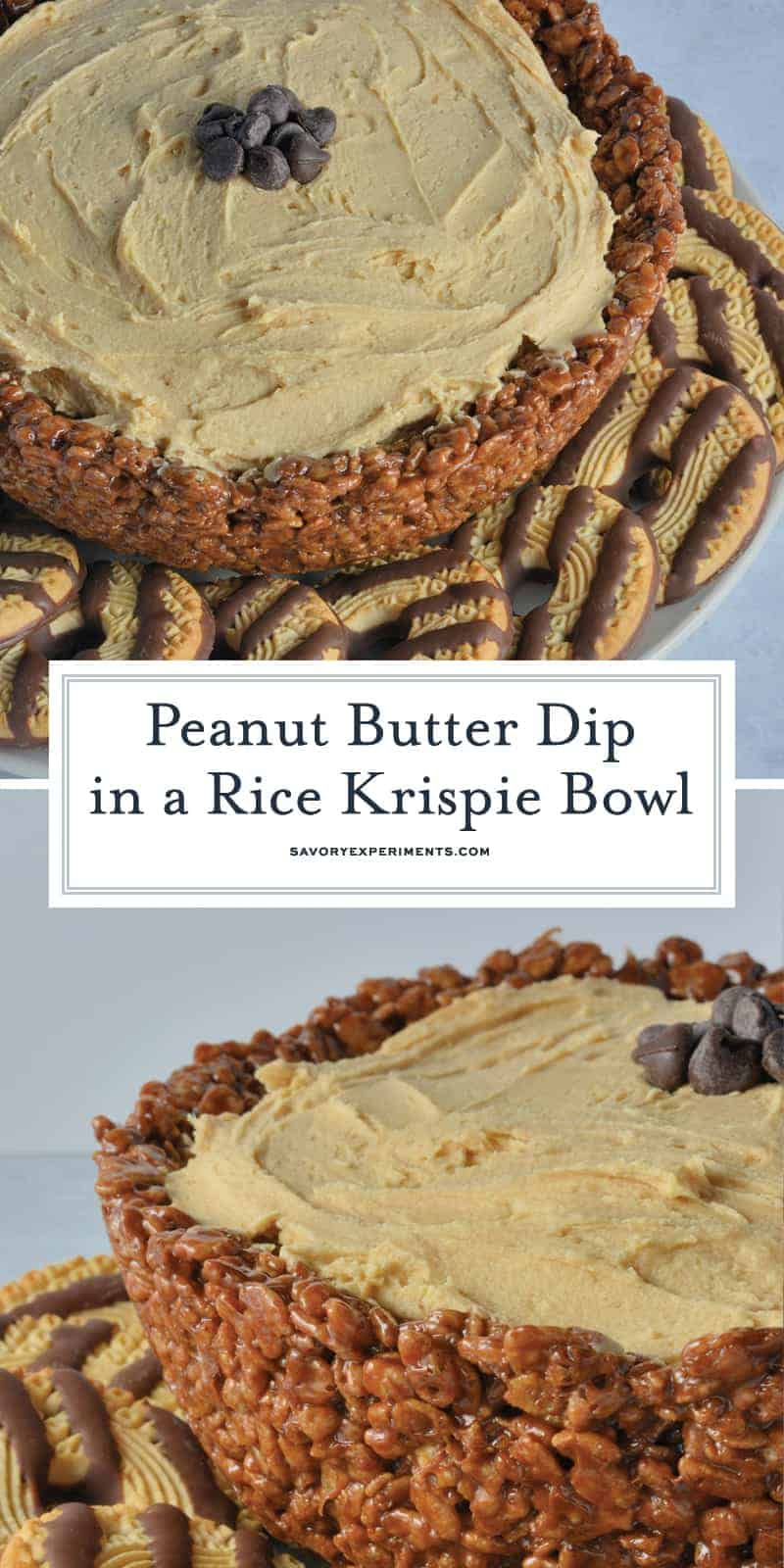 Creamy whipped peanut butter in an edible chocolate laced Rice Krispie treat bowl. The best no-bake peanut butter dessert!#peanutbutterdessert www.savoryexperiments.com