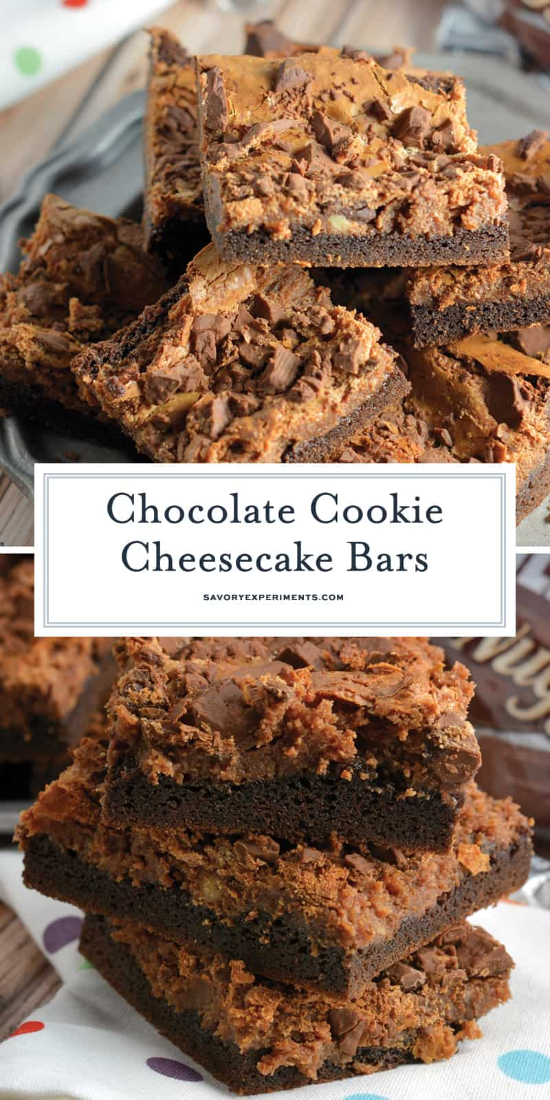 Triple Chocolate Cookie Cheesecake Bars are a bar with brownie cake mix base, chocolate cheesecake center and milk chocolate topping, this easy bar recipe will please any chocolate lover! #barrecipes #bestchocolaterecipes www.savoryexperiments.com