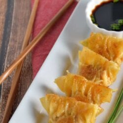 Authentic Homemade Dumplings (Potstickers) recipe! Learn how to make pork and shrimp dumplings using a real Chinese restaurant recipe! Plus a tutorial on how to fold a dumpling and dumplings dipping sauce.