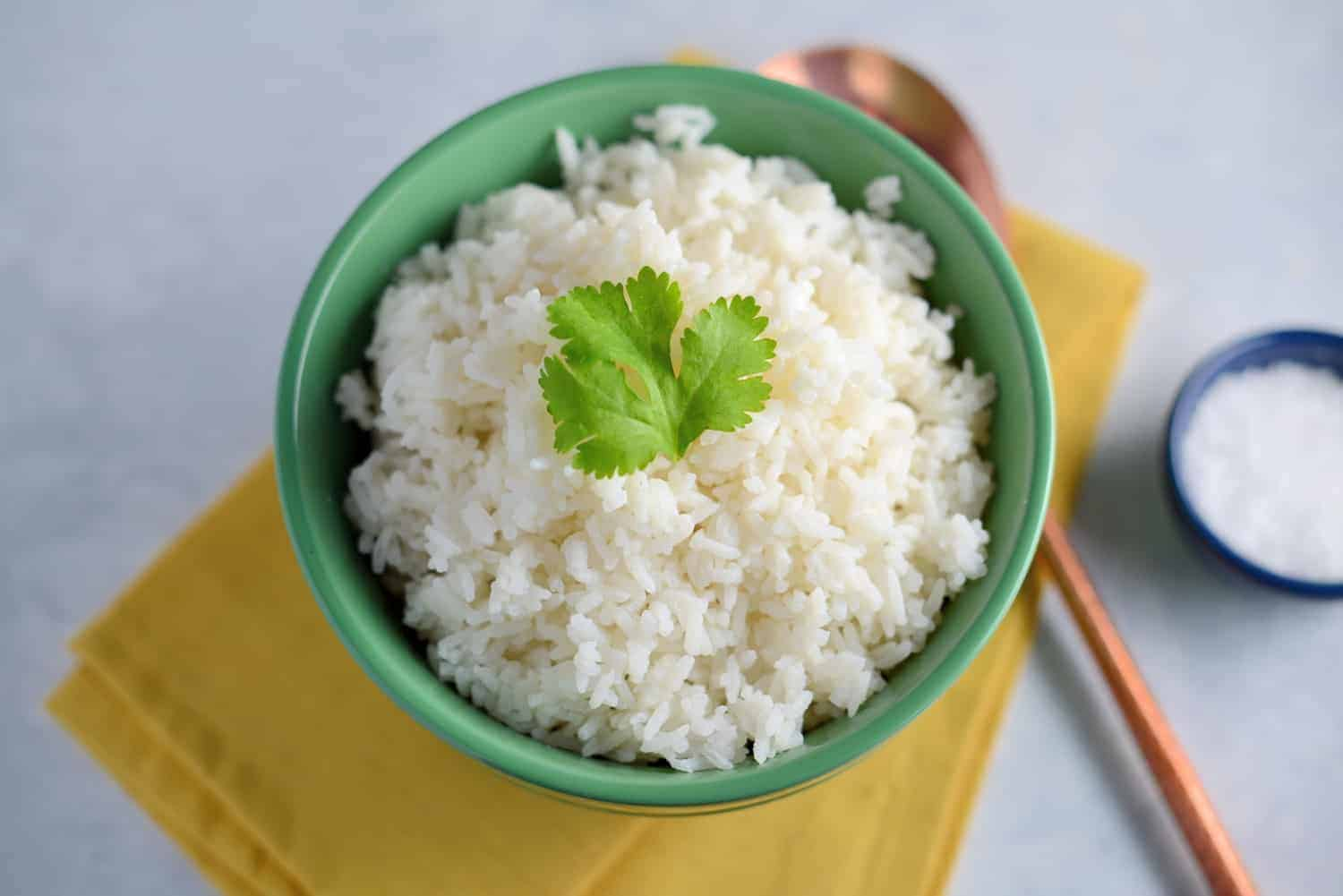 Cilantro-Lime Coconut Rice- an easy rice recipe plus 5 tips on how to make the best rice! This makes a great rice for curry, Chinese, Thai and Japanese recipes.