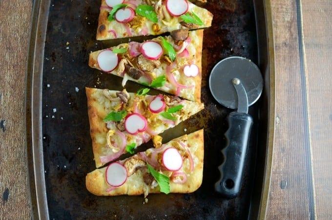 Horseradish Cheddar and Mushroom Flatbread