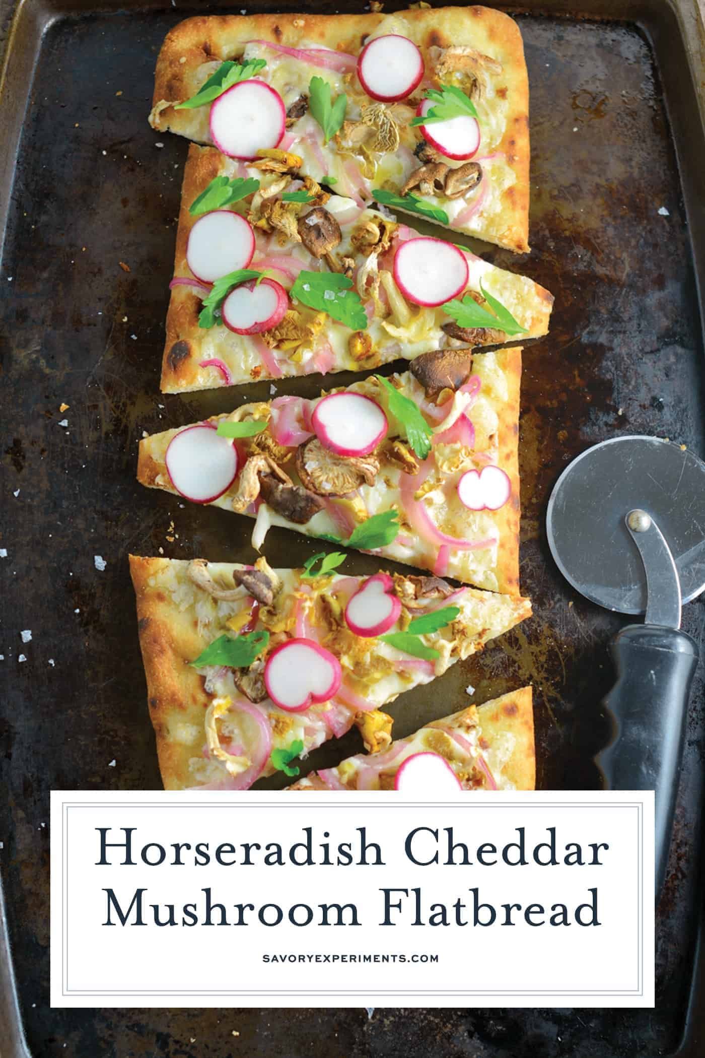 Horseradish Cheddar Mushroom Flatbread combines a mushroom blend, fresh radishes, pickled red onion, tangy horseradish cheddar cheese, Italian parsley and Maldon sea salt. Delicious!#vegetarianappetizers #flatbreadrecipes www.savoryexperiments.com