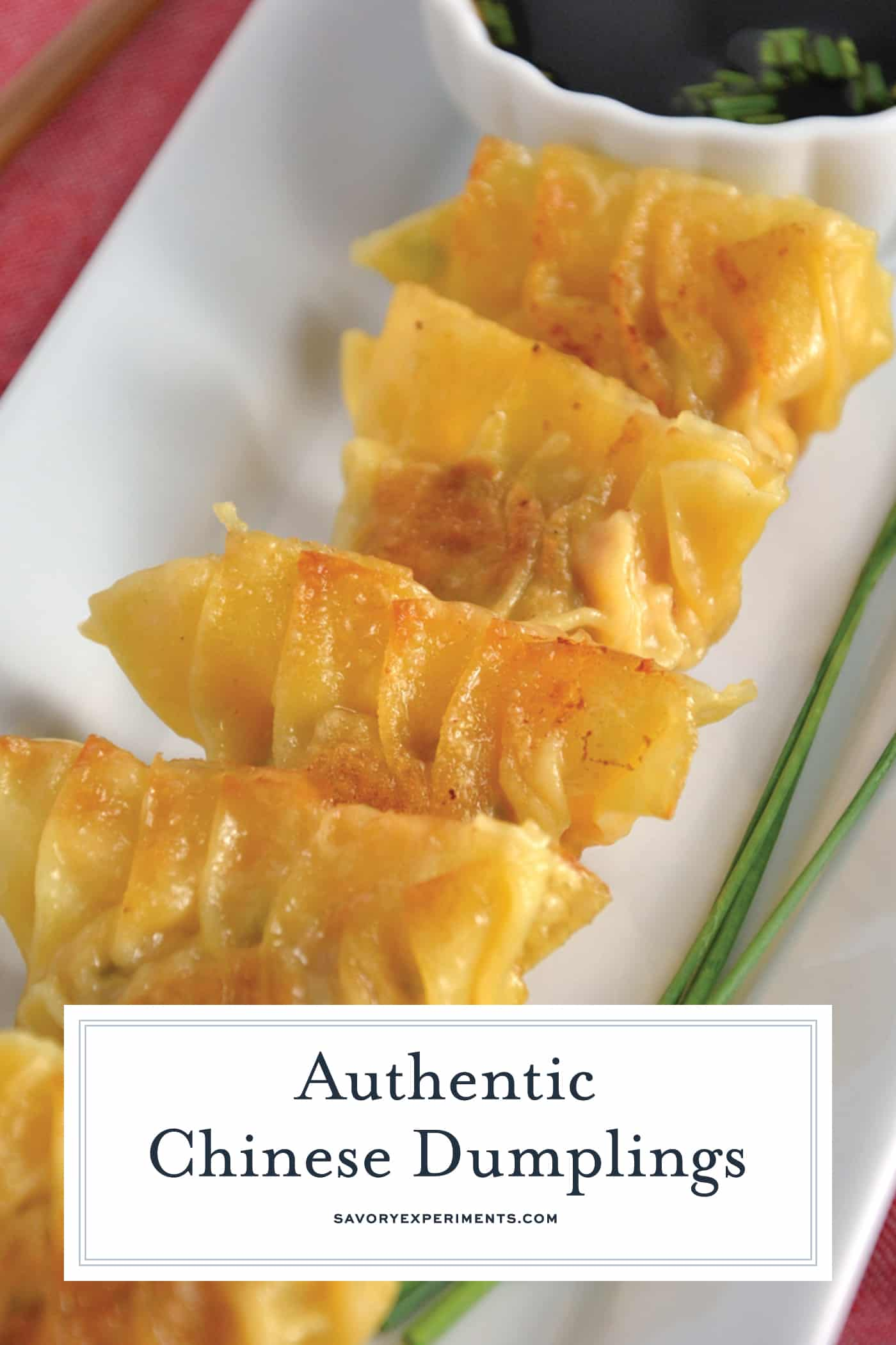 Authentic Chinese Dumplings is a recipe straight from a Chinese restaurant owner. Learn how to make perfect little folds and the fry and steam techinque of cooking.#chinesedumplings #porkdumplings www.savoryexperiments.com