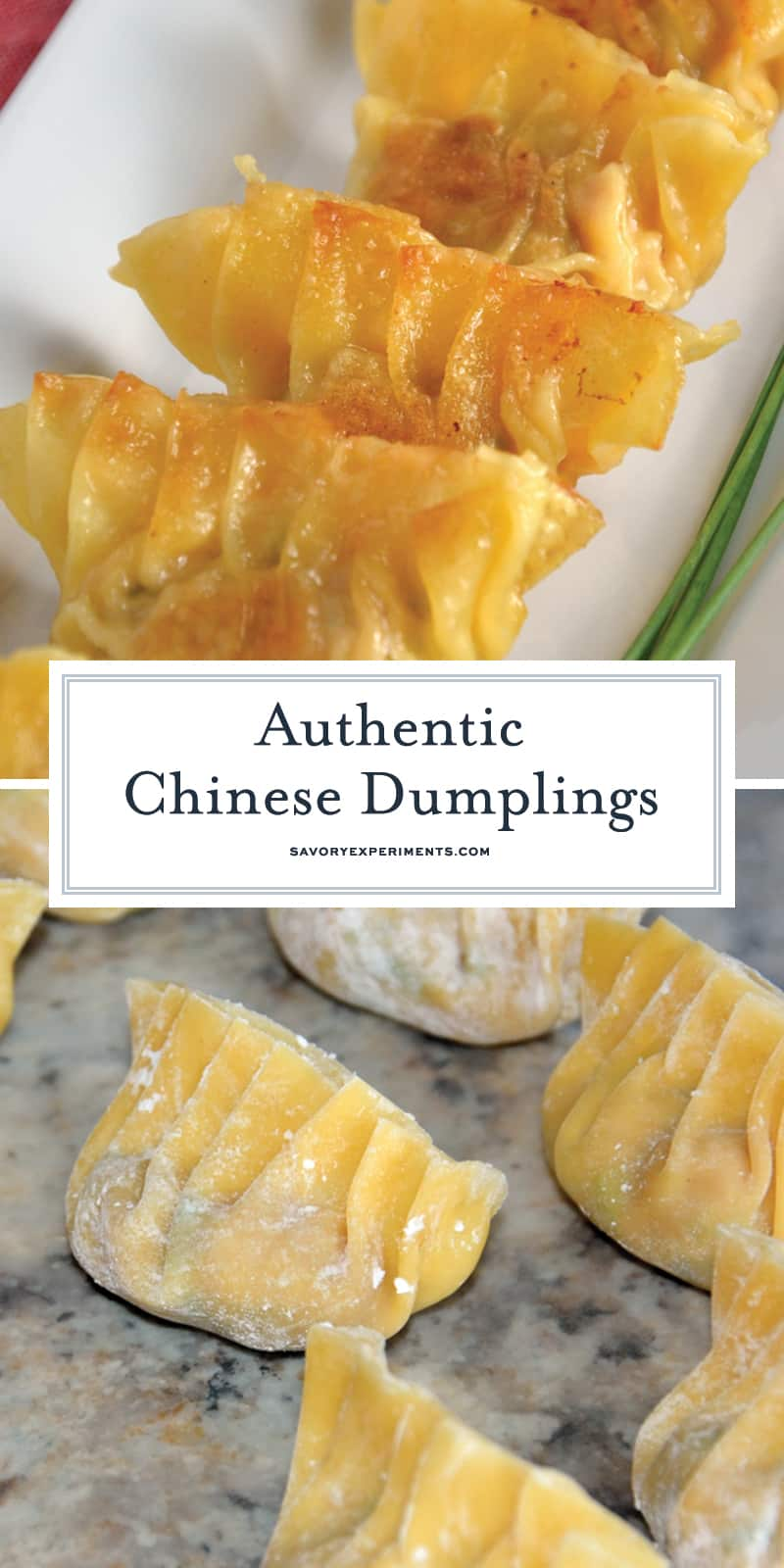 Authentic Chinese Dumplings is a recipe straight from a Chinese restaurant owner. Learn how to make perfect little folds and the fry and steam techinque of cooking. #chinesedumplings #porkdumplings www.savoryexperiments.com