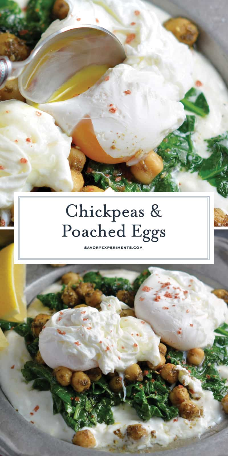 Gluten-Free Chickpeas and Poached Eggs are a healthy meal idea using yogurt, spinach and mediterranean spices. #poachedeggs www.savoryexperiments.com