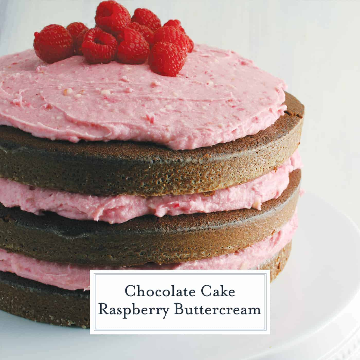 Naked cakes are all the rage right now, so I created a three layer Chocolate Cake with Raspberry Buttercream. Yum! #nakedcakes #chocolatecake #raspberrybuttercream www.savoryexperiments.com