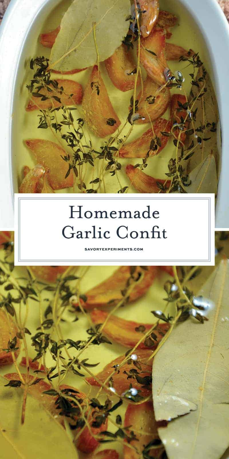 Garlic Confit is a condiment that adds flavor and sophistication to any dish. Gentle garlic flavor without overwhelming. So mild, in fact, that you can eat it straight up off an antipasto platter or spread on a crusty slice of bread. #garlicconfit www.savoryexperiments.com