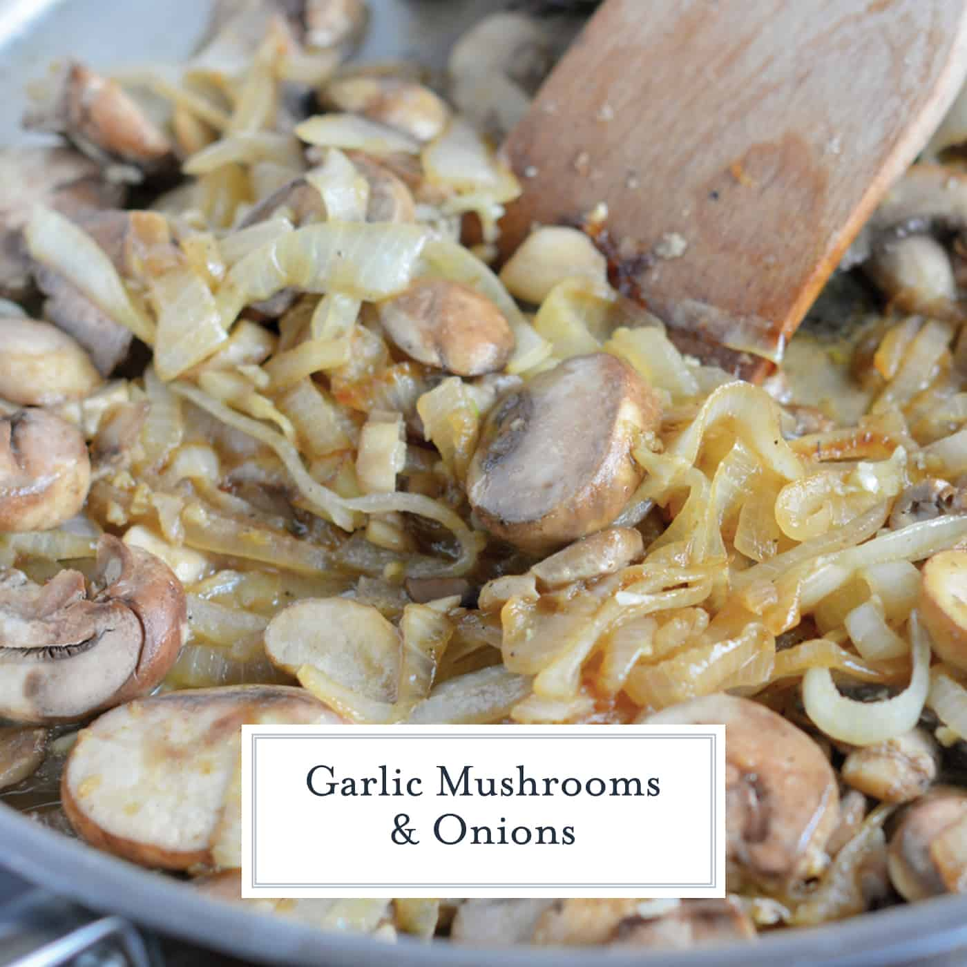 Garlic Mushrooms and Onions are a tasty side dish for any meal. Mushrooms and onions sauteed with fresh garlic and maitre d'hotel butter. #garlicmushrooms #easysidedishes www.savoryexperiments.com