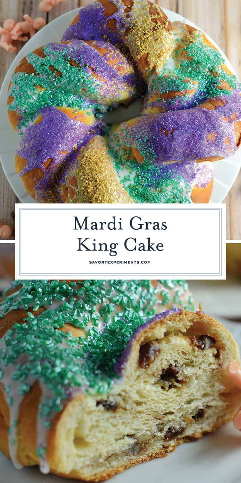 Make your own braided King Cake for Mardi Gras, complete with brown sugar pecan filling, icing, festive colors and one plastic baby. #mardigras #kingcake #fattuesday www.savoryexperiments.com