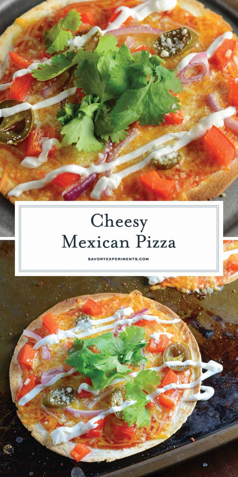 Mexican Pizza is the best meal and snack recipe ever! With just a small handful of ingredients, Mexican Pizza is a perfect party idea. #mexicanpizza #partyfood www.savoryexperiments.com