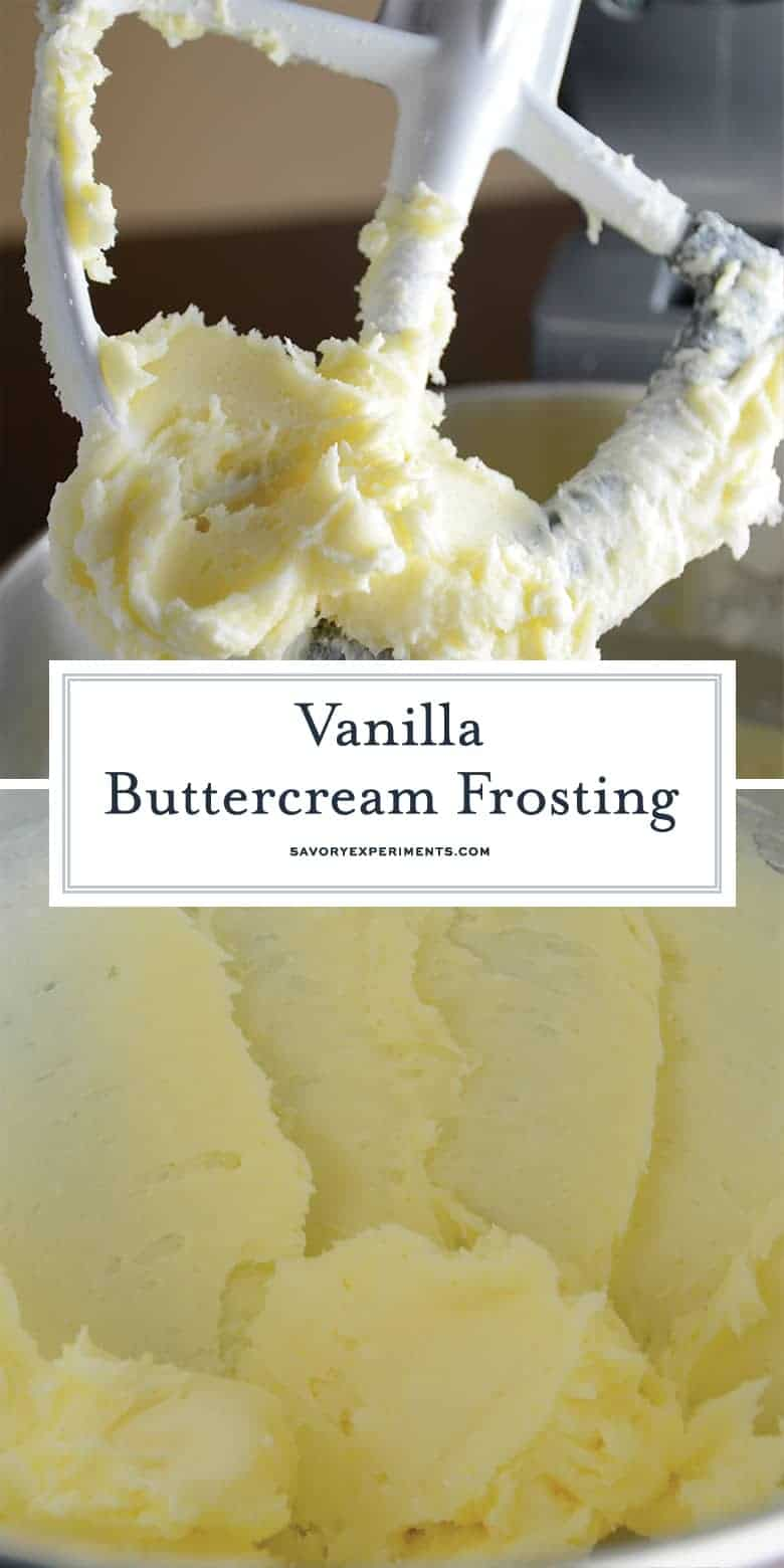 vanilla buttercream frosting in a bowl of a mixer