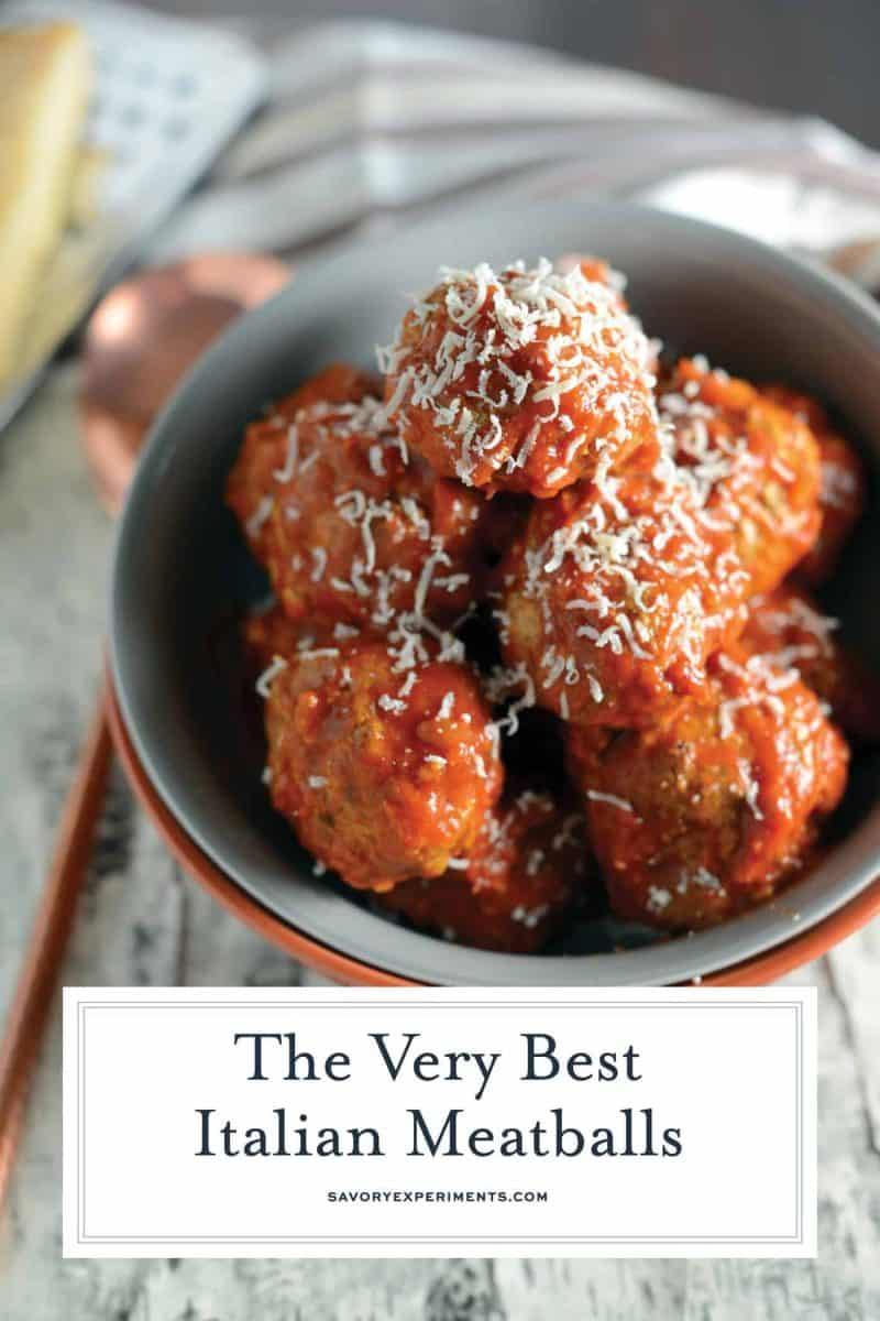 Best Italian Meatballs uses a blend of meat, spices and one special ingredient to make the tastiest, fork-tender meatballs you've ever seen!#italianmeatballs #meatballrecipe www.savoryexperiments.com