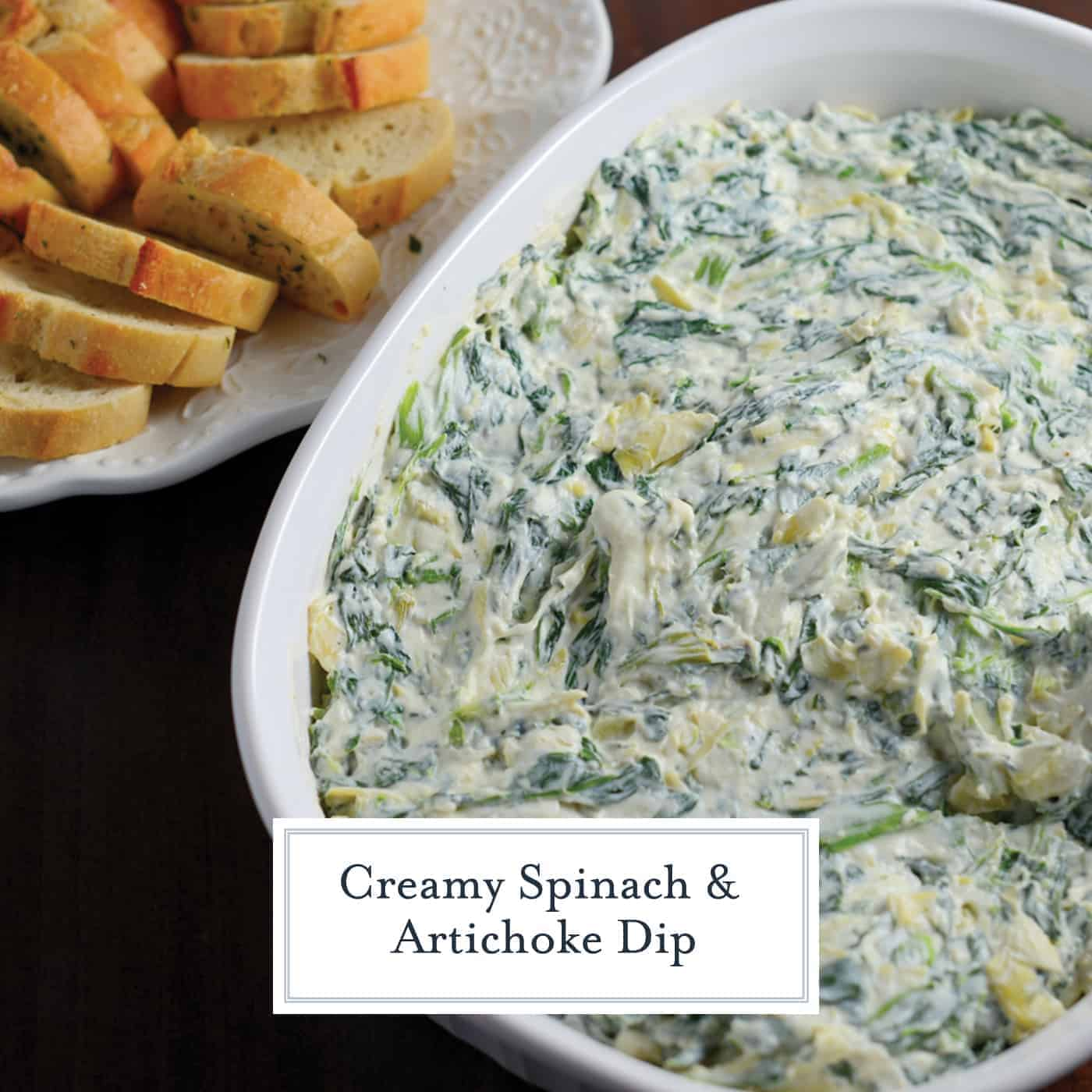 Creamy Spinach Artichoke Dip is the perfect party appetizer. Make ahead and serve chilled or hot with crackers, crostini or vegetables! #artichokedip #spinachdip #partydips www.savoryexperiments.com