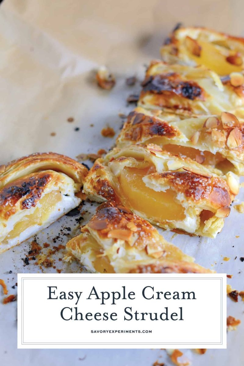 Pastry isn't as challenging as you might think! My Easy Apple Cream Cheese Strudel uses only 6 ingredients and 10 minutes to prepare for a fancy-pants breakfast or dessert! #applestrudel #easystrudelrecipe www.savoryexperiments.com