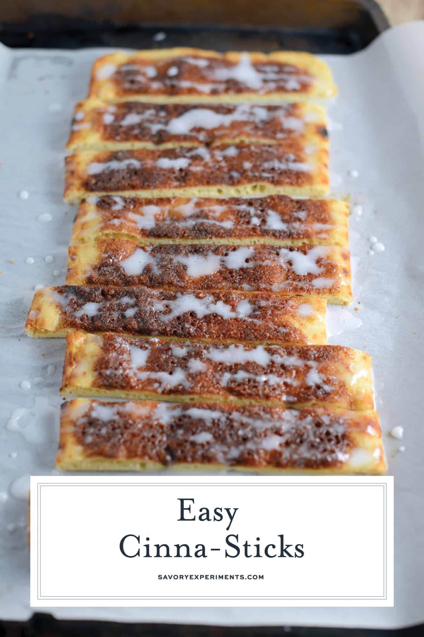 Cinna-Sticks are super easy dessert or snack recipe using flatbreads, a simple cinnamon sugar mixture and powdered sugar glaze. Kids just love them! #cinnasticks #easydessertrecipes #dessertsforkids www.savoryexperiments.com
