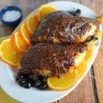 Orange Marmalade with orange, tarragon and olives make this delicious, sticky crust for French Baked Chicken. Use on chicken halves or chicken breasts for a delicious French dinner recipe.#frenchchicken #bakedchickenrecipe www.savoryexperiments.com