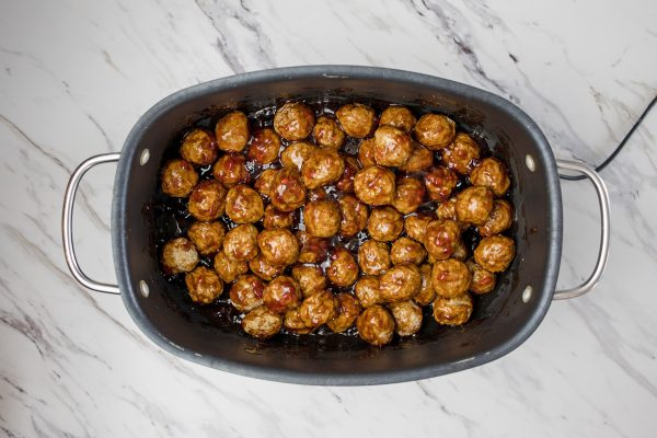 meatballs in a large electric cooker