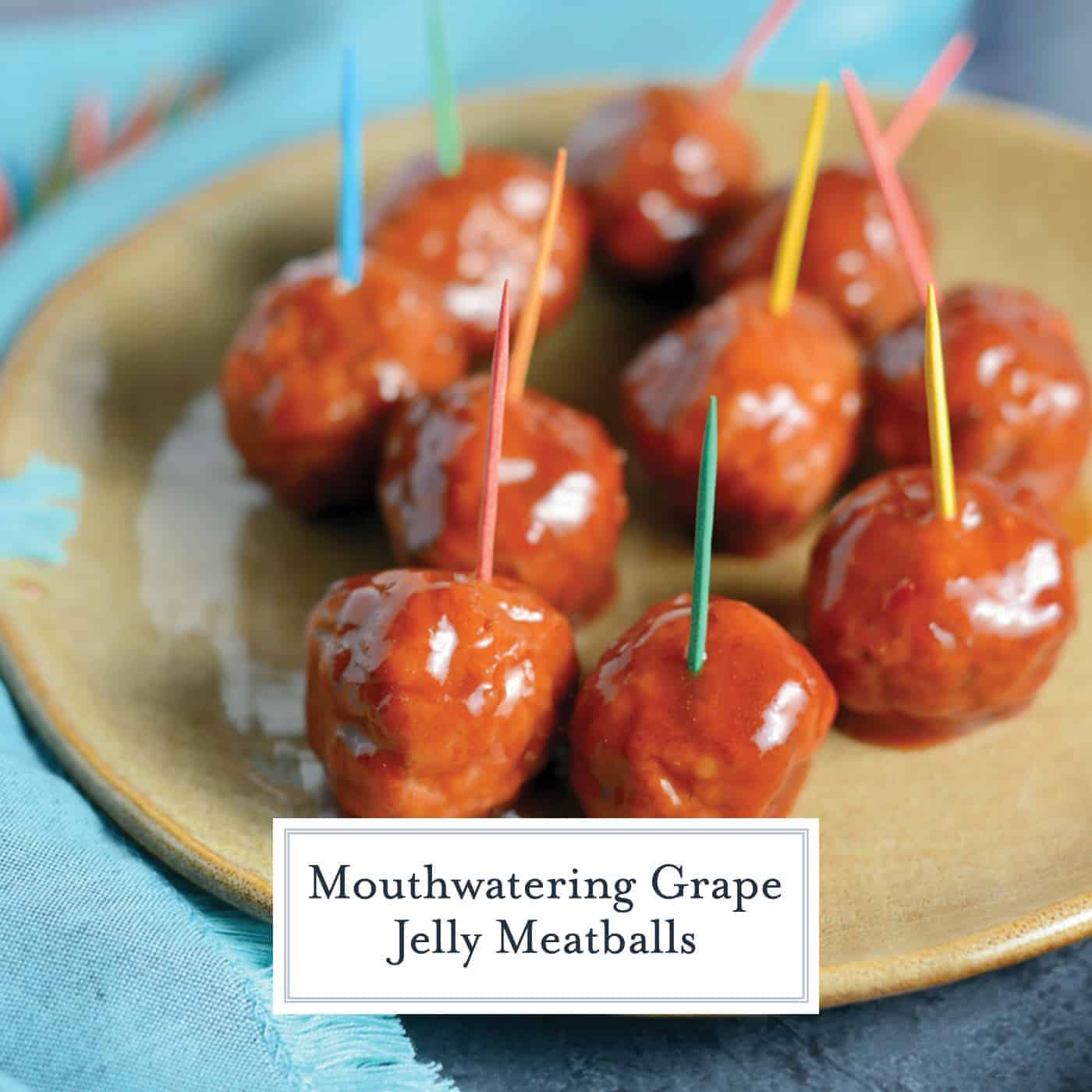 Grape Jelly Meatballs are easy to make with only THREE ingredients! Cocktail meatballs are perfect for throwing into the crockpot as a party appetizer! #cocktailmeatballs #grapejellymeatballs www.savoryexperiments.com