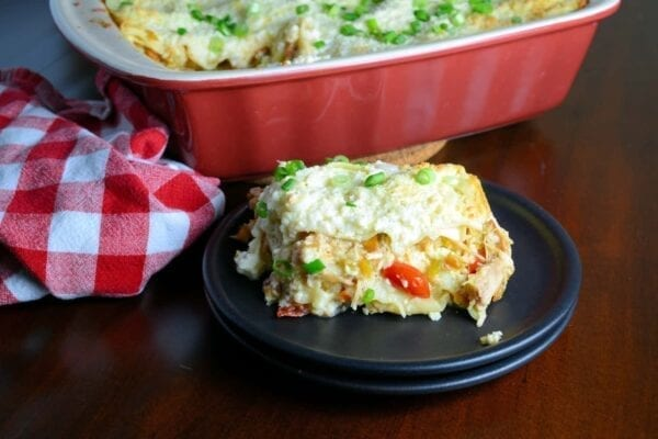 Green Chile Chicken Lasagna Recipe- it's like a green chile enchilada chicken casserole and a lasagna recipe with ricotta smashed together. One of my best Hatch green chile recipes, it will soon be your favorite weeknight meal using pre-cooked chicken and no-bake lasagna noodles, it comes together in a snap! www.savoryexperiments.com