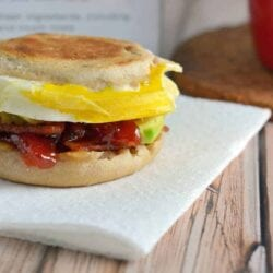 What makes this the BEST Breakfast Sandwich? Egg, provolone, bacon, avocado and one secret condiment!