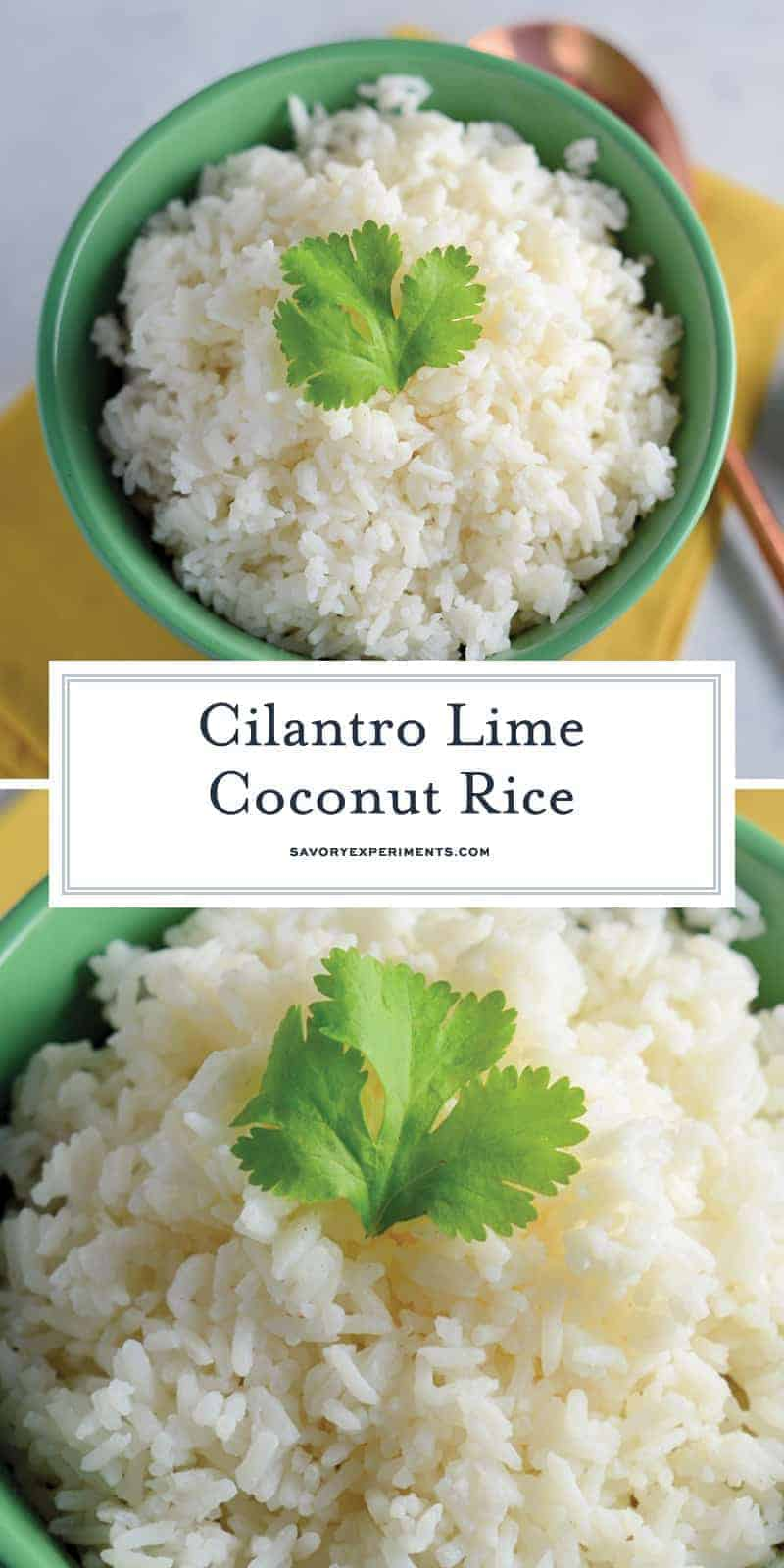 Cilantro Lime Coconut Rice uses coconut milk, fresh lime and cilantro for the best sticky rice recipe ever! Pairs with any Asian dish. #coconutrice #stickyrice #jasminerice www.savoryexperiments.com