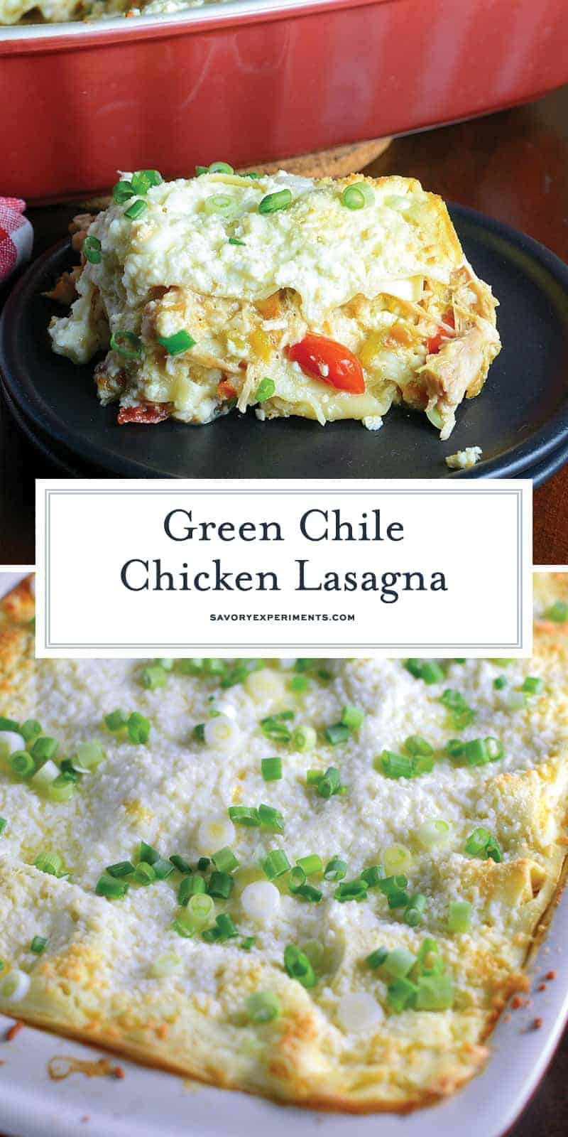 Green Chile Chicken Lasagna is a make-ahead and freezer friendly meal layering no-bake lasagna noodles with shredded chicken, spices, green chiles and lots of cheese! #chickenlasagna #mexicanlasagna www.savoryexperiments.com