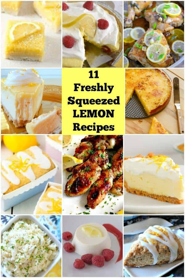 11 Freshly Squeezed Lemon Recipes- recipes using fresh lemons from the best bloggers out there! www.savoryexperiments.com