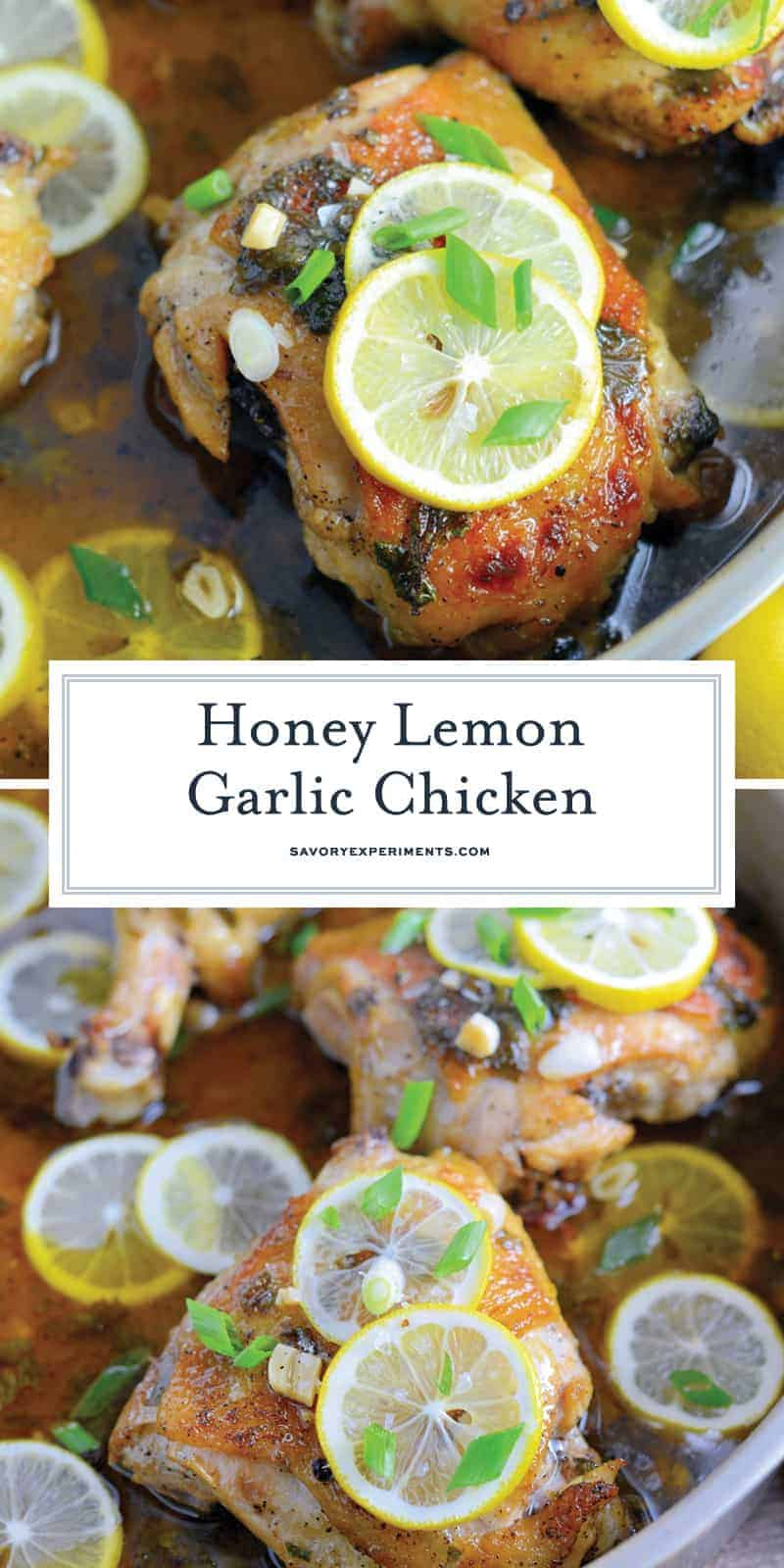Honey Lemon Garlic Chicken is an easy dinner recipe made with garlic and honey to make this sauce bright and tasty! Serve lemon chicken over pasta, rice or toasted couscous. #chickenrecipes #lemongarlicchicken www.savoryexperiments.com