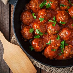 meatballs in a cast iron skillet