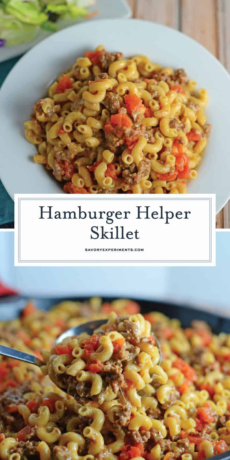 Homemade Hamburger Helper Skillet is a  great ground beef recipe with cheddar cheese, seasonings and tomatoes all ready in 20-minutes! #hamburgerhelper #onedishmeal #castironskilletrecipes #groundbeefrecipes www.savoryexperiments.com