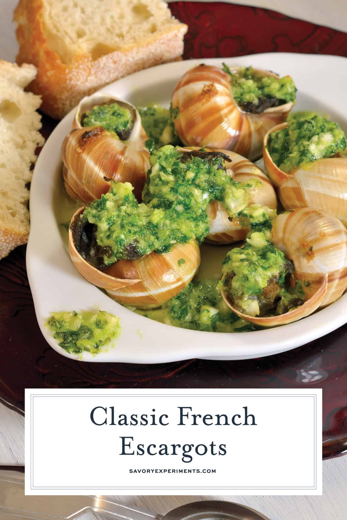 A recipe for Classic French Escargot with a parsley garlic butter in a shell or covered in puff pastry, make them however you'd like!#howtomakeescargot #frenchescargot  www.savoryexperiments.com