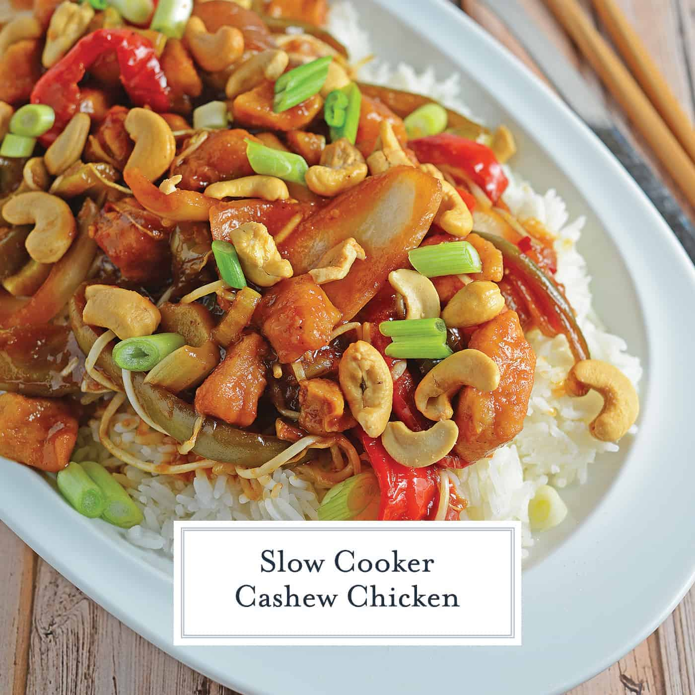 Slow Cooker Cashew Chicken is a favorite chicken crock pot recipe using lightly breaded chicken with a flavorful cashew sauce, celery, bean sprouts, onion and bell pepper! #crockpotchickenrecipes #cashewchicken www.savoryexperiments.com