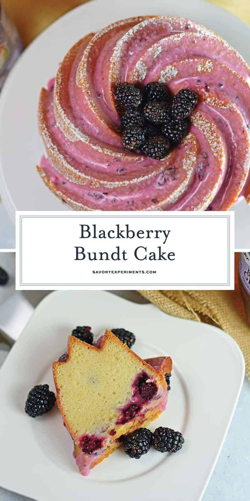 Blackberry Bundt Cake is a pound cake base using ginger ale and fresh blackberries for color, flavor and fluffiness. Top with a powdered sugar blackberry glaze for this heavenly dessert recipe. #bundtcakerecipe #blackberryrecipes www.savoryexperiments.com