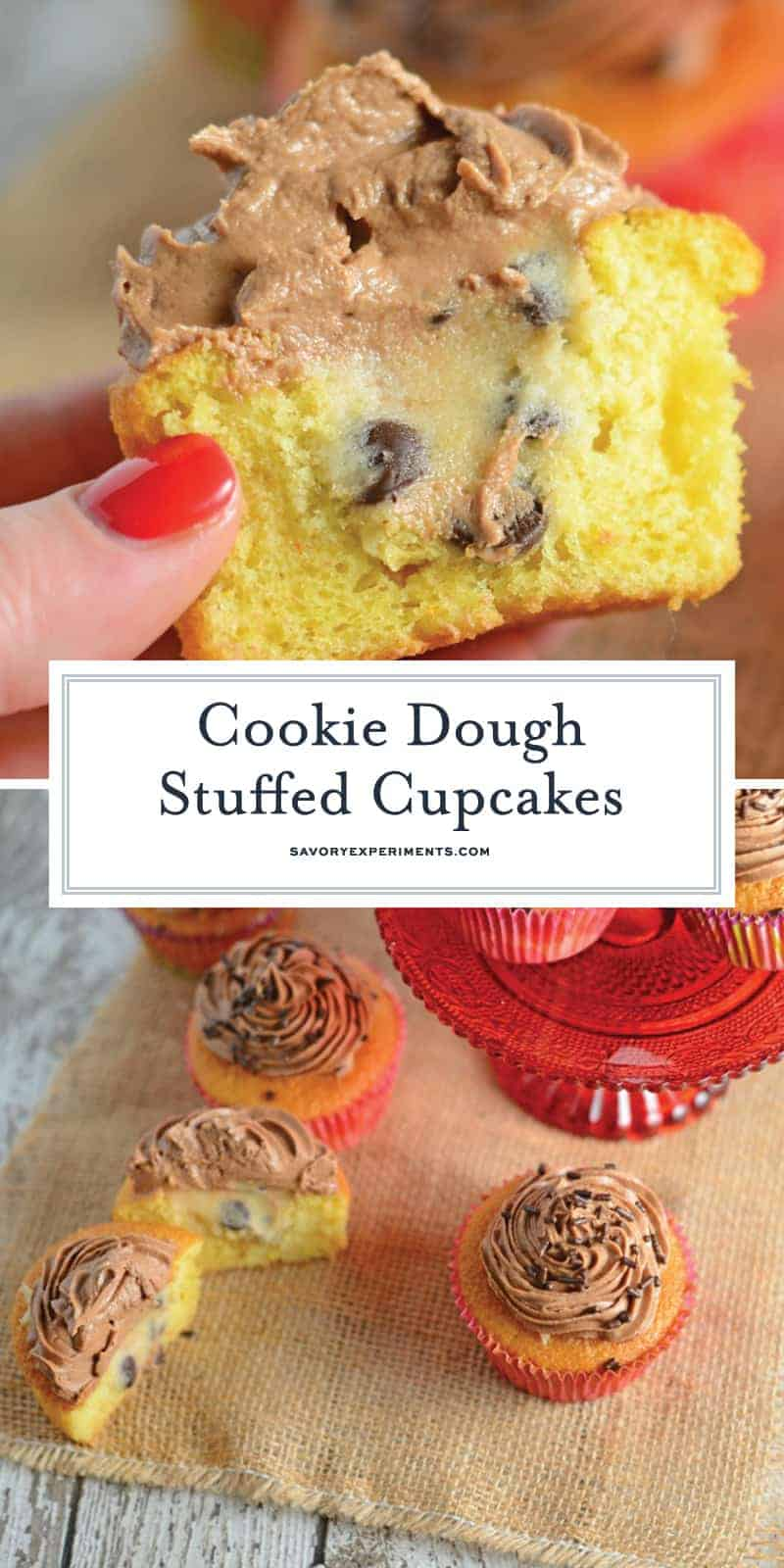 Cookie Dough Stuffed Cupcakes are vanilla cupcakes stuffed with edible cookie dough and topped with whipped chocolate frosting. You won't beleive how easy these are to make! #stuffedcupcakes #cookiedoughstuffedcupcakes www.savoryexperiments.com