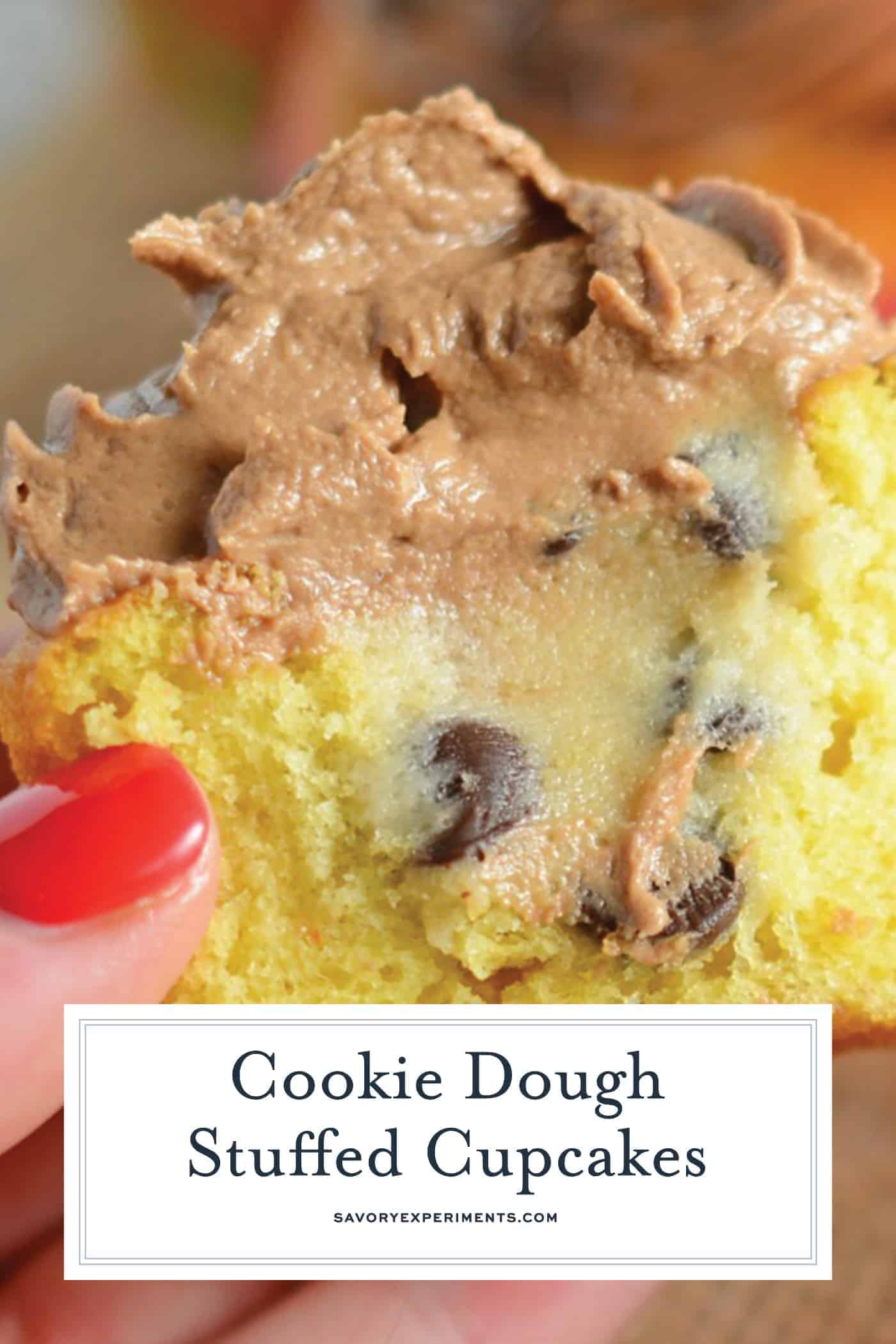 Cookie Dough Stuffed Cupcakes are vanilla cupcakes stuffed with edible cookie dough and topped with whipped chocolate frosting. You won't beleive how easy these are to make!#stuffedcupcakes #cookiedoughstuffedcupcakes www.savoryexperiments.com