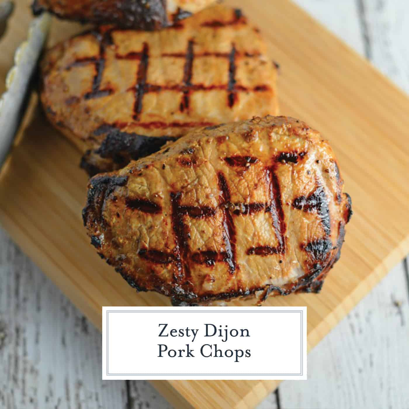 Grilled Dijon Pork Chops are a favorite for pork on the grill. A zesty and easy pork marinade recipes perfect for grilled or baked pork chops! #porkchopsonthegrill #grilledpork www.savoryexperiments.com