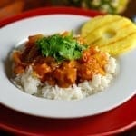 Pineapple and Pork Curry Recipe- this is the best curry recipe you will ever taste! Made from authentic spices and homemade curry sauce, it freezes well and will become your new favorite dinner. www.savoryexperiments.com