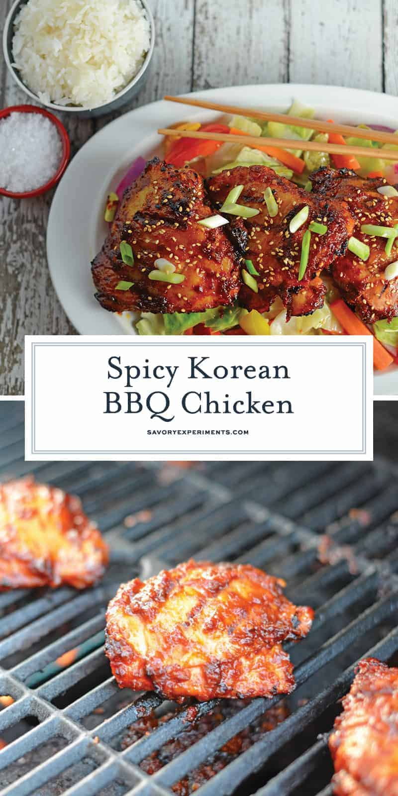 Spicy Korean BBQ Chicken is a spicy chicken marinade using chile garlic sauce, dark soy sauce and apple to balance the sweet. Use on any type of chicken and grill to perfection. #grilledchicken #koreanchicken #bbqchicken www.savoryexperiments.com