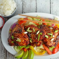 Spicy Korean BBQ Chicken Recipe- this SPICY marinade is the same as you get at your favorite Korean BBQ joint. Red chile pepper base with a sweet after taste. Great on the grill or in stir fry. www.savoryexperiments.com