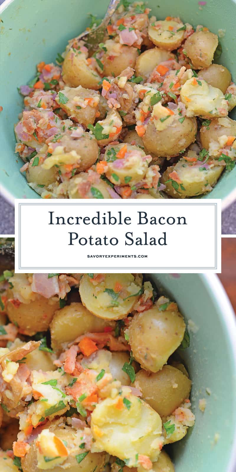 Bacon Potato Salad can be served hot or cold and uses veggies and BACON! This is a NO MAYO potato salad! The perfect make ahead side dish. #potatosalad #nomayopotatosalad www.savoryexperiments.com