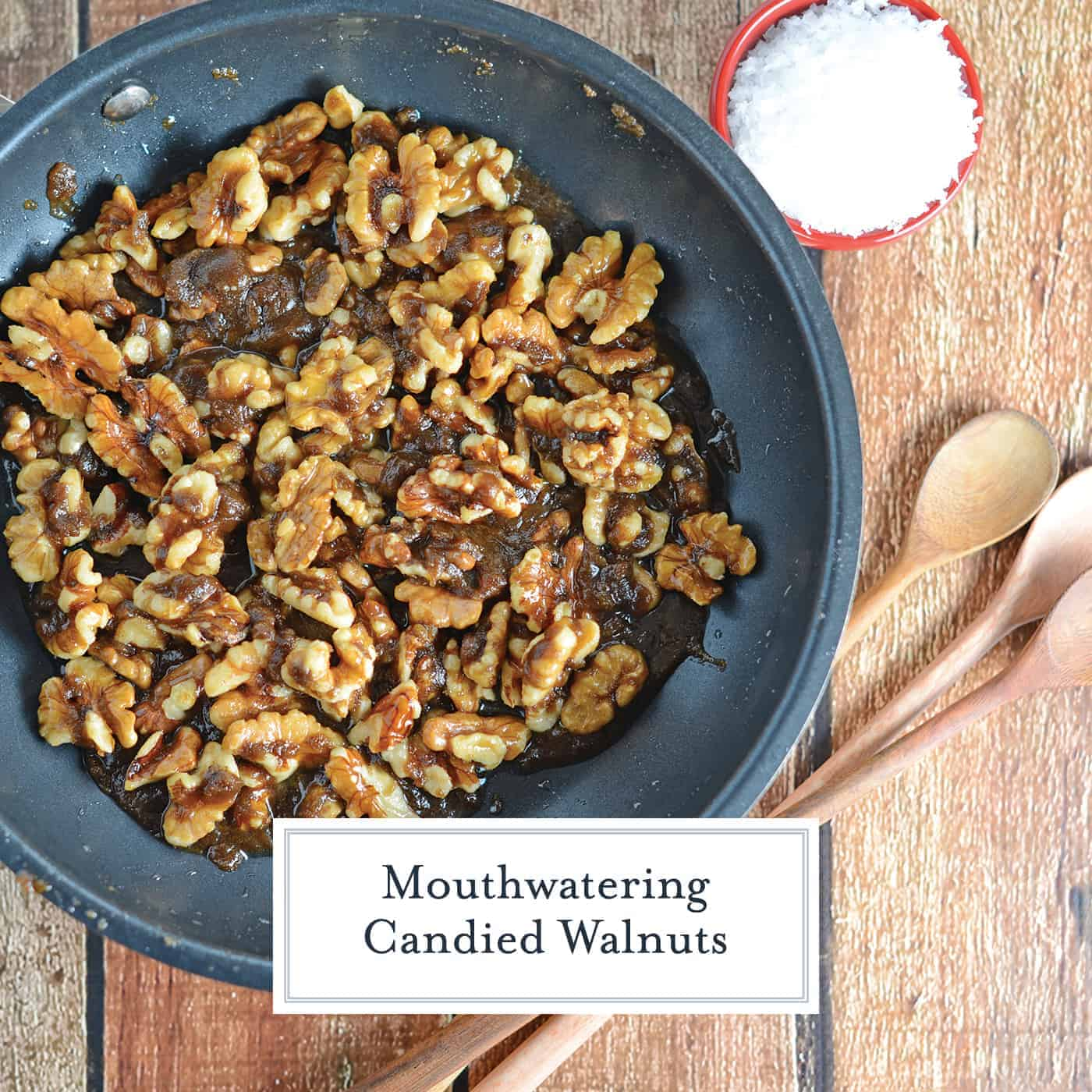 Candied walnuts are easy to make with just brown sugar, cinnamon and a pinch of salt. Add to any dessert, salad or more! #candiedwalnuts www.savoryexperiments.com