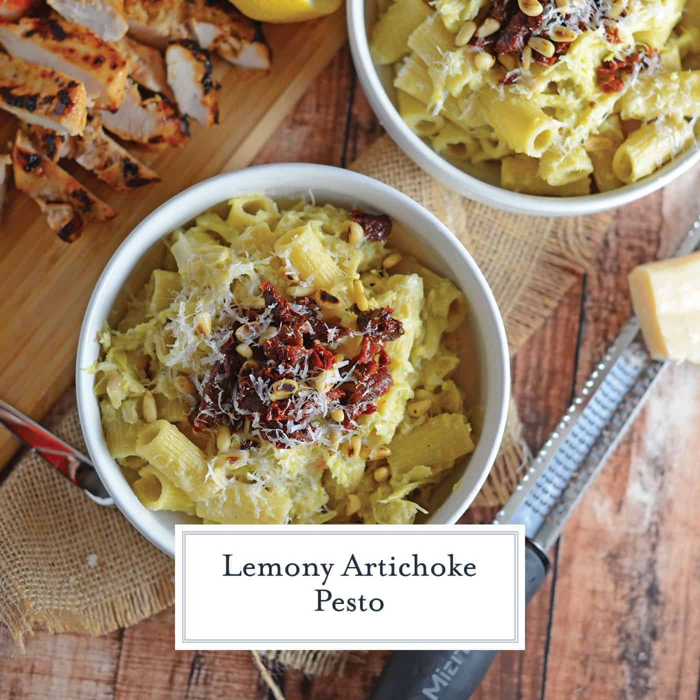 Lemony Artichoke Pesto is a fresh and punchy sauce perfect for summer meals and pasta. Takes only minutes to make, stores and freezes well and makes an excellent gift. Top with pine nuts, sun dried tomatoes and Parmesan Reggiano cheese. #homemadepestosauce #artichokes www.savoryexperiments.com