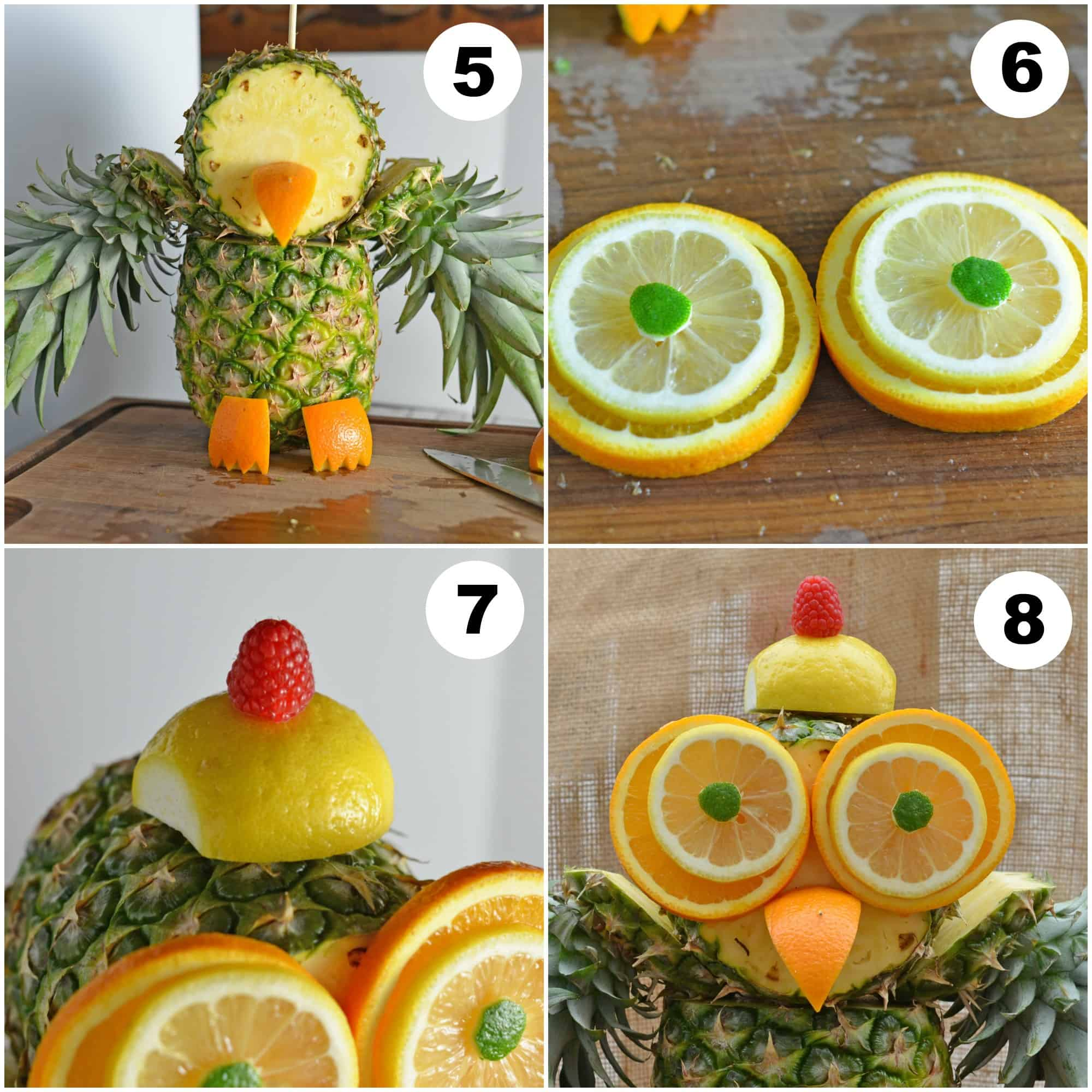 Pineapple owl centerpiece an easy fruit sculpture